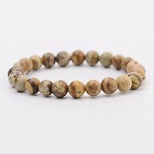 Women Men Healing Balance Beaded Bracelet Picture Jasper Yoga Reiki Prayer Stone
