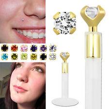 1-4 Set Bio Flex Labret Helix Piercing 16g 14K Gold Top 2mm Crystal Rounded Top