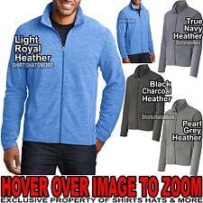 MENS Heathered Warm Micro Fleece Full Zip Jacket Pockets XS-XL 2XL 3XL 4XL NEW!