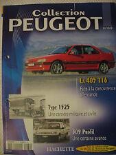 FASCICULE 60 BOOKLET   PEUGEOT COLLECTION 405 T16  309 PROFIL