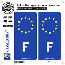 2 Stickers autocollant plaque immatriculation : F France Européen - Côté Droit