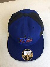 561f296fdcf RETRO PHILADELPHIA 76ERS BLUE BLACK PANEL RED BALL NEW ERA FLAT BRIM FITTED  HAT