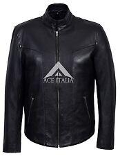 Nuevo Para Hombre 6810-P Negro Napa Elegante chaqueta de moda de lujo informal de cuero real