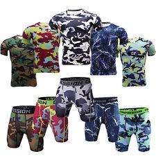 Men Compression Base Layer Shorts and T-shirt Under Skin Workout Sportswear Set