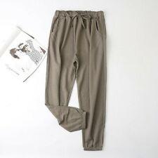 Womens Plain Trousers Thin Long Pants Slim Casual Lace Up Elastic Waist New