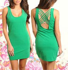 Women Dress Mini green clubwear casual backless party dresses