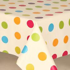MULTI SPOTS POLKA DOTS OFF WHITE CREAM PINK GREEN CHILDREN PVC VINYL TABLE CLOTH