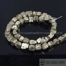 "Natural Iron Pyrite Gemstone Cutting Freeformed 6mm - 8mm Nugget Loose Beads 16"""