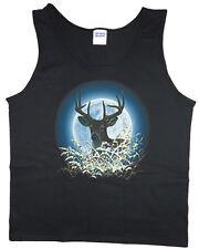 Men's tank top white tailed deer buck hunting moon nature wildlife t-shirt tee