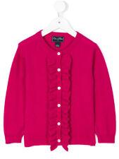 NEW Oscar de la Renta Girls Ruffle Cardigan CASHMERE Merino Berry Pink 6 8 Y