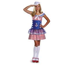 Girls Sailor Costume High Seas Captain Red White Blue Fancy Dress Hat Child Kids