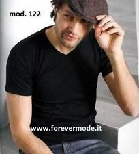 3 T-shirt uomo Moretta manica corta con scollo V alto in puro cotone art 122