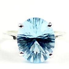 • SR055, 6 ct Swiss Blue Topaz Quantum, 925 Sterling Silver Ladies Ring-Handmade