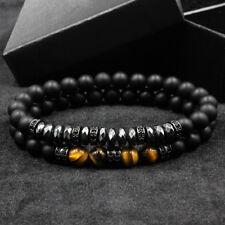 2018 Micro Pave CZ Stopper Men Charm Bracelet 8mm Matte Onyx Hematite Beads Set