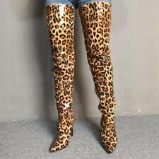 Occident Patent Leather Ladies Pointed Toe Stilettos Heel Overknee High Boots SZ