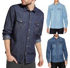 WRANGLER Camicia a maniche lunghe in Denim Moda Occidentale Indigo Jean Camicie Regular Fit