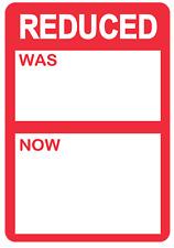 Rojo - Reducido Fue / ahora Precio Pegatinas / Etiquetas para Usar con Térmico