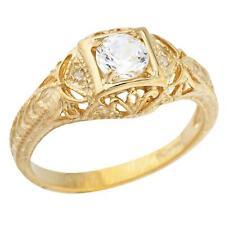 14Kt Yellow Gold Plated Zirconia & Diamond Round Ring