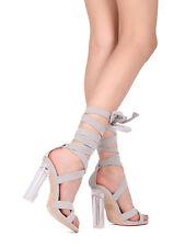8b797f49ef4 New Women Faux Suede Open Toe Ankle Wrap Perspex Block Heel Sandal - 17909  By ML