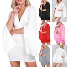 Ladies Womens Long Sleeve V Neck Wrap Over Split Cape Bandage Mini Bodycon Dress