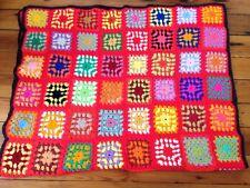 Vtg Handmade Granny Square Afghan Throw Twin Blanket Rainbow Crocheted 46x74
