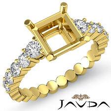 Diamond Engagement Asscher Semi Mount Shared Prong Ring 18k Yellow Gold 0.70Ct