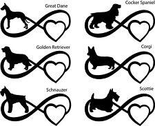 Dog Infinity Decal Sticker Golden Cocker Corgi Schnauzer Scottie Great Dane Pet