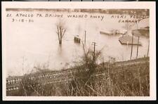 Apollo Pa 1936 Kirski Flood Bridge Washed Away Rppc