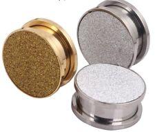 4- 20mm Frosted Glitter Screw On Earring Expander Gauges Tunnels Steel Ear Plugs