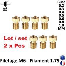 2x Buse Nozzle 0,2-03-0,4-05-0,6-08 M6 Extrudeuse V5, V6  Imprimante 3D Printer