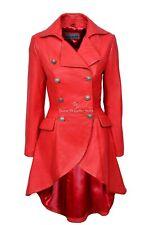 EDWARDIAN Ladies Real Leather Coat Red Napa Gothic Style 3491