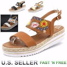 Women Ankle Strap Flatform Platform Sandals Wedge Shoes Flower Decor Espadrilles