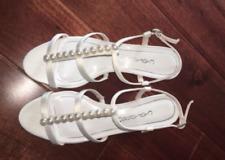 Caparros Sandals Mid Heel Pearl Wedge Ivory Sullivan Wedding Shoes NIB