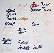 City Name Text Cursive Script Iron-on Vintage Clothing Patch Travel Souvenir DIY