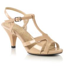 PLEASER FABULICIOUS Belle-322 Nude Patent T-Strap Drag Queen Ladies Sandals