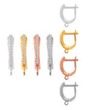 Argent Sterling 925 Boucles d'oreilles sécurité Crochets 17.5x3mm * Plaqué conclusions avec CZ