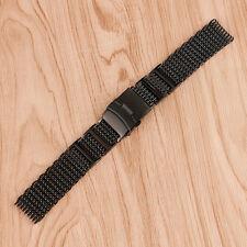 22mm 22mm 24mm SHARK MESH Stainless Steel Watch Band Strap Bracelet Black Unisex