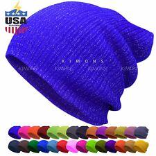 Glitter Beanie Plain Cuff Knit Hat Winter Cap Slouchy Skull Ski Hat Men Women