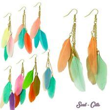 zauberhafte Ohrringe aus Federn / Federohrringe pastell rot grün orange