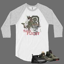 T Shirt to Match Air Jordan 8 Sneaker Pro Club Graphic Baseball Tee White Gray