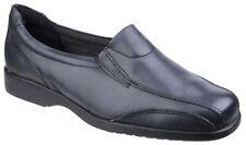 Amblers Merton navy blue leather ladies slip-on shoe