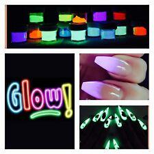 1x Glow In The Dark Acrylic Powder Nail Extension Fake Tips Luminous 5ml Pot UK