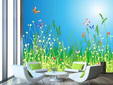 3D Green Grass Butterfly 8 Wall Paper Wall Print Decal Wall Deco Art Indoor Wall