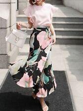 Élégant refinada conjunto de mujer falda larga camisa rosa blanco slim 3657