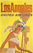 REPRO AFFICHE LOS ANGELES UNITED AIRLINES AVION USA  SUR PAPIER 310 OU 190 GRS