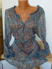 sheego Chiffon Tunic Blouse Size 46 - 56 Patterned Soft Falling (077) NEW
