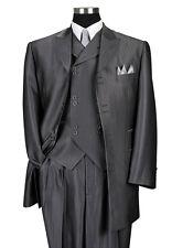 Men's 3pc Wool Feel Herring Bone Striped Suit w/ Fancy Vest #5264 Gray, Black