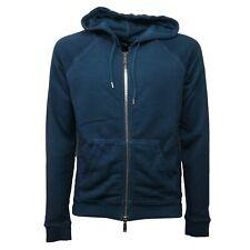 C0828 felpa uomo DSQUARED turchese vintage effect con zip sweatshirt men