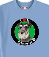 Dog T Shirt - I Love My Schnauzer Men Women - Adopt Rescue Friend Animal # 44