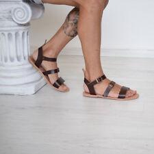 mens genuine leather gladiator sandals strap ankle high Roman Greek Sparta brown